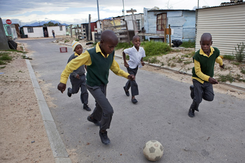 Township kids playing soccer