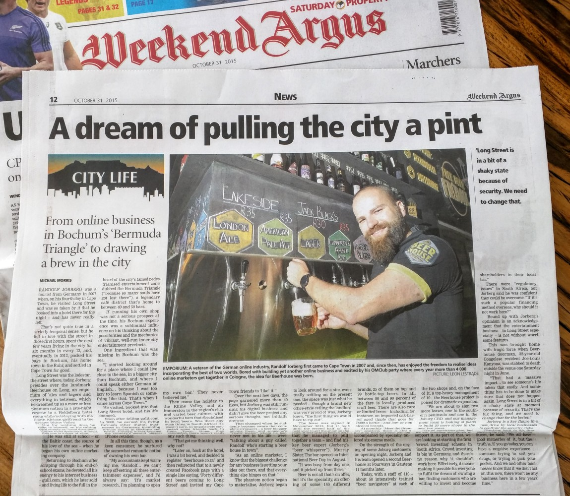 Beerhouse and Randolf Jorberg in the Weekend Argus