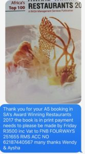 RASA SMS restaurant association of south africa