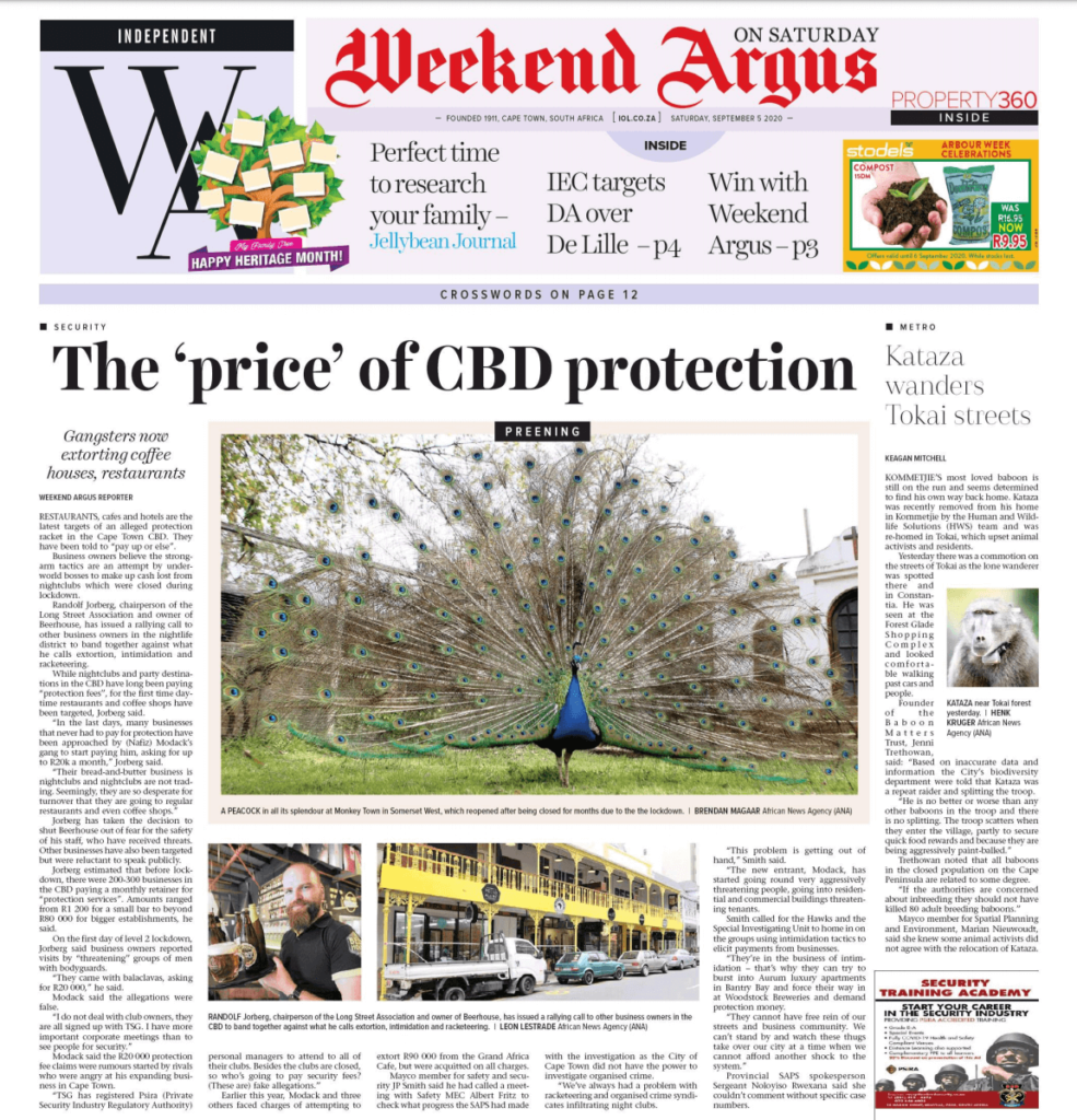 Picture of the Weekend Argus frontpage